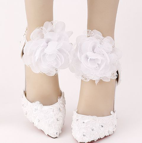 ФОТО White ankle straps pumps shoes for woman point toes sexy thin high heeled ladies lace wedding shoes TG714 on sales