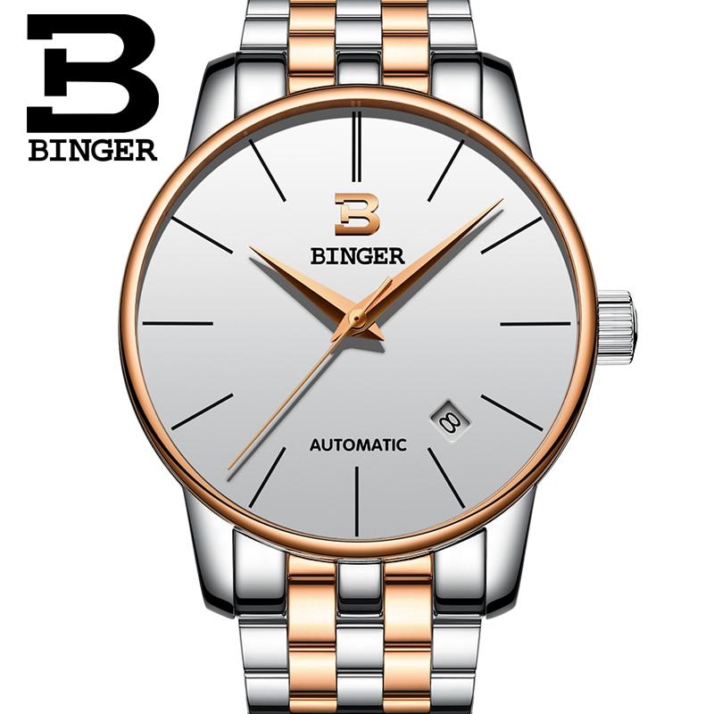 ФОТО Switzerland BINGER watches men luxury brand Relogio Masculino water resistant Stainless steel Mechanical Wristwatches B-5005M-9