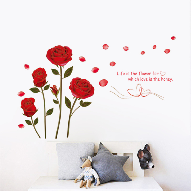 Wedding Flowers Quote: Red Rose Life Is The Flower Quote Wall Sticker Mural Decal