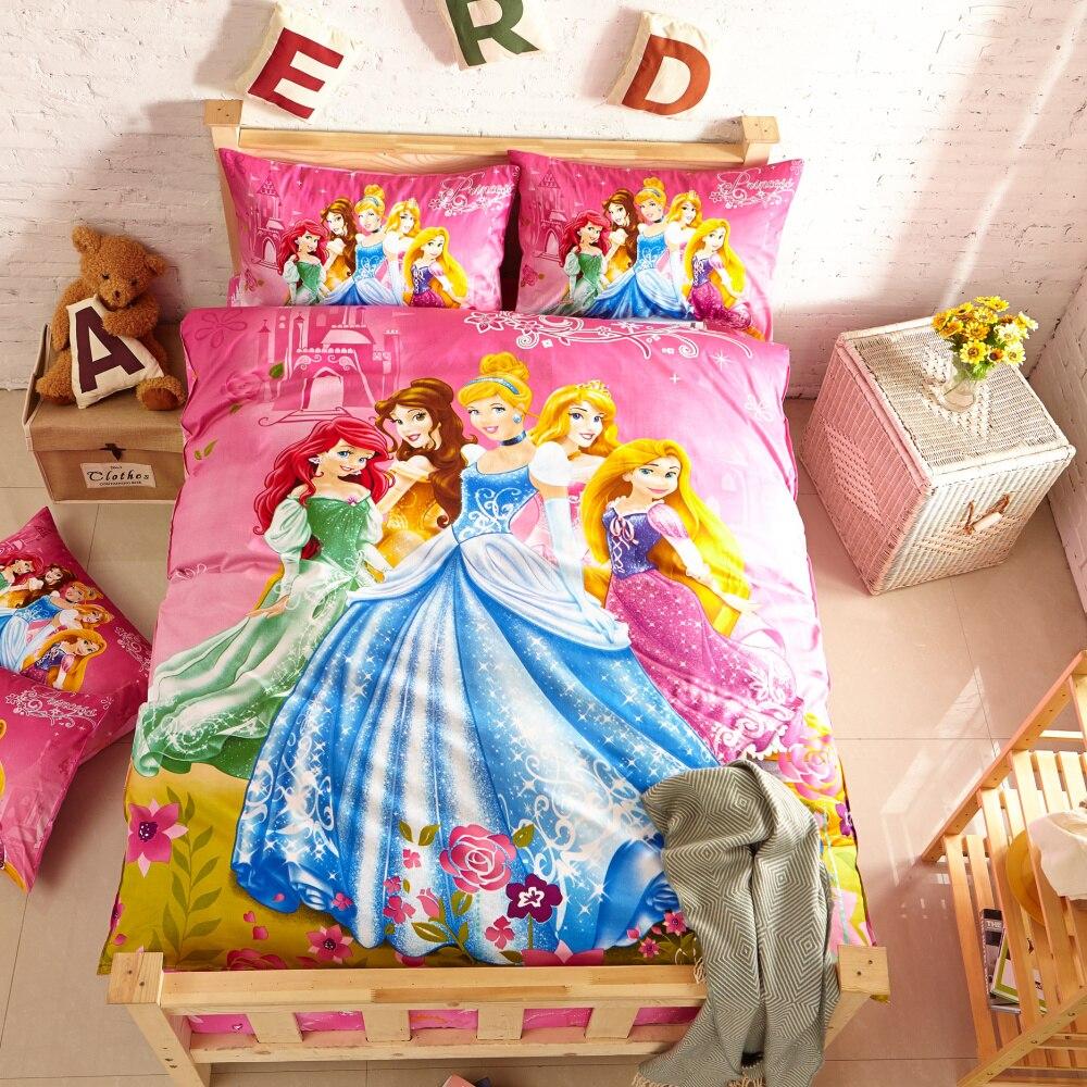 Disney principessa set di biancheria da letto per i bambini arredamento camera da letto biancheria da letto in cotone copertura del duvet twin ragazze tessili per la casa copriletto pieno queen sz