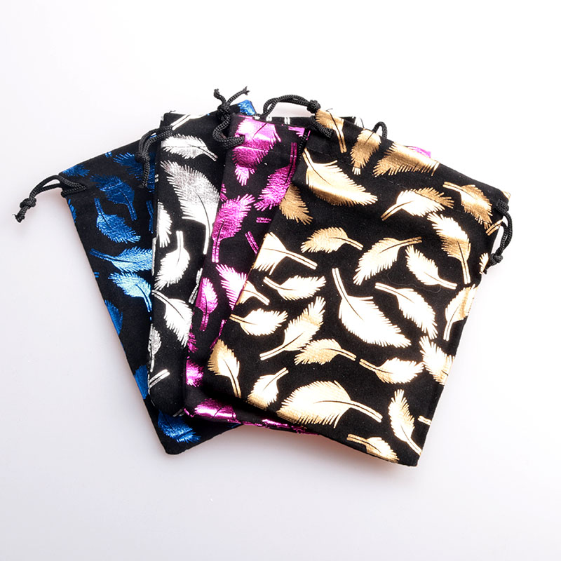 4Colors Velvet Bags 50pcs/lot 8x10cm/10x14cm Feather Print Velvet Bag Jewelry Pouches Favor Candy Jewelry Packaging Bags
