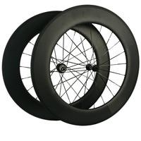 Custom logo 88mm depth 23mm wide carbon clincher wheels 700C road bike carbon wheelset Novatec 271sb bicycle wheels