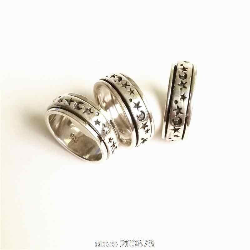 T9182 непальское серебро 925 пробы мужские кольца тибетское солнце Звезда Луна амулет Тотем близкий спин счастливые кольца