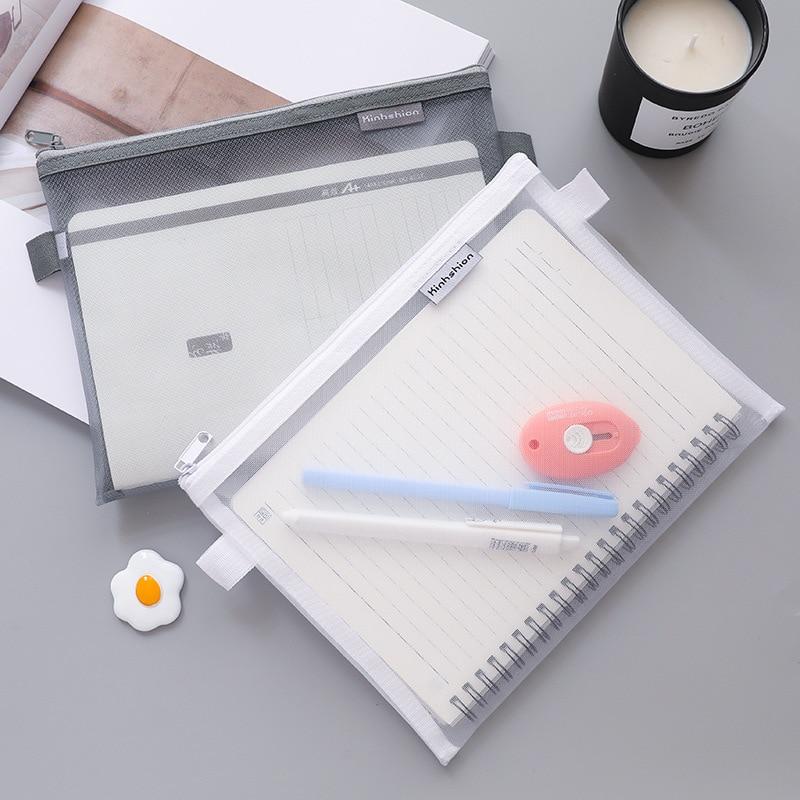 A5 Grid File Holder Document Bag Mail Sorter File Organizer Mesh Case Clear Zip Business Folder Organizer Office Supplies