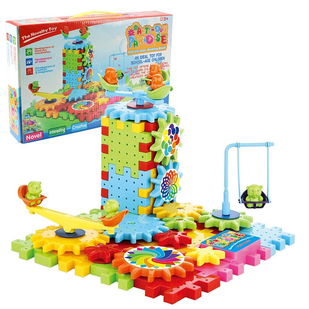 81 pièces jeu de jouets de construction de blocs d'apprentissage de verrouillage de briques électriques drôles