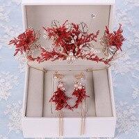 Handmade Pearls Bridal Crowns Earrings Set Dry Flowers Crystal Bride Wedding Headpieces Hair Accessories Women Hairband Tiaras