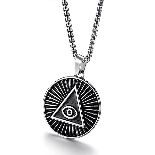 Illuminati all seeing eye of providence pendant necklace for men illuminati all seeing eye of providence pendant necklace for men jewellery stainless steel vintage male jewelry mozeypictures Gallery