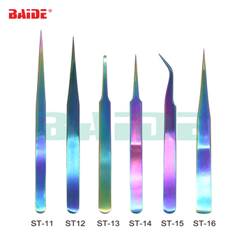 New Brand Colorful Stainless Steel Titanize Tweezers ST-11 ST-12 ST-13 ST14 ST15 ST16 Titanizing Color Tweezer 100pcs/lot