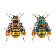 Lovely Insect Bee Brooch Pin Yellow Green Enamel Alloy Broach for Women Party Male Suit Lapel Pin Accessories Collar Pin(China)