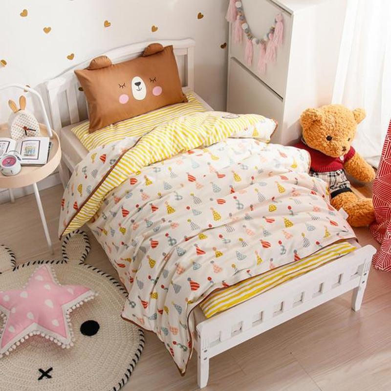 2018 Cartoon Yellow Candy Children Kids Baby Crib Bedding Set 3Pc Twin Size Cotton Fabric Duvet Cover Mattress Cover Pillowcase
