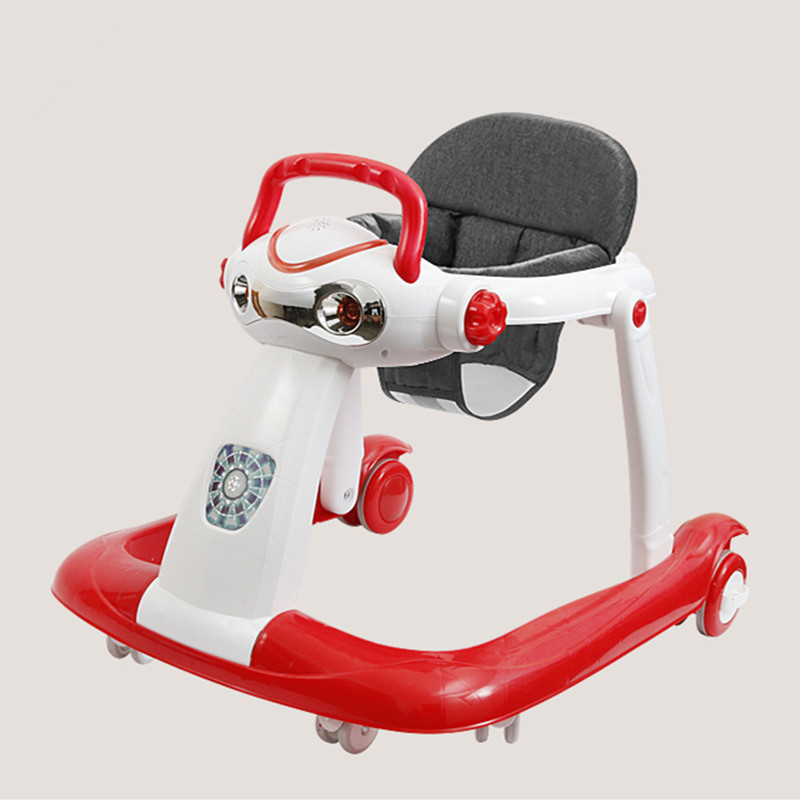 New baby walker anti-rollover 6/7-18 months can sit can push foldable multi-function baby walkers