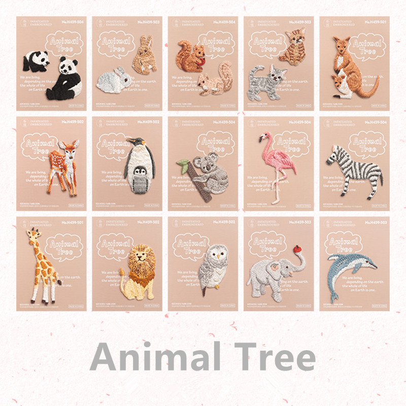 Mini Embroidery Sika Deer Dolphin Raccoon Panda Patches Iron On Applique for Clothes DIY Craft Accessory Cartoon Fabric Sticker