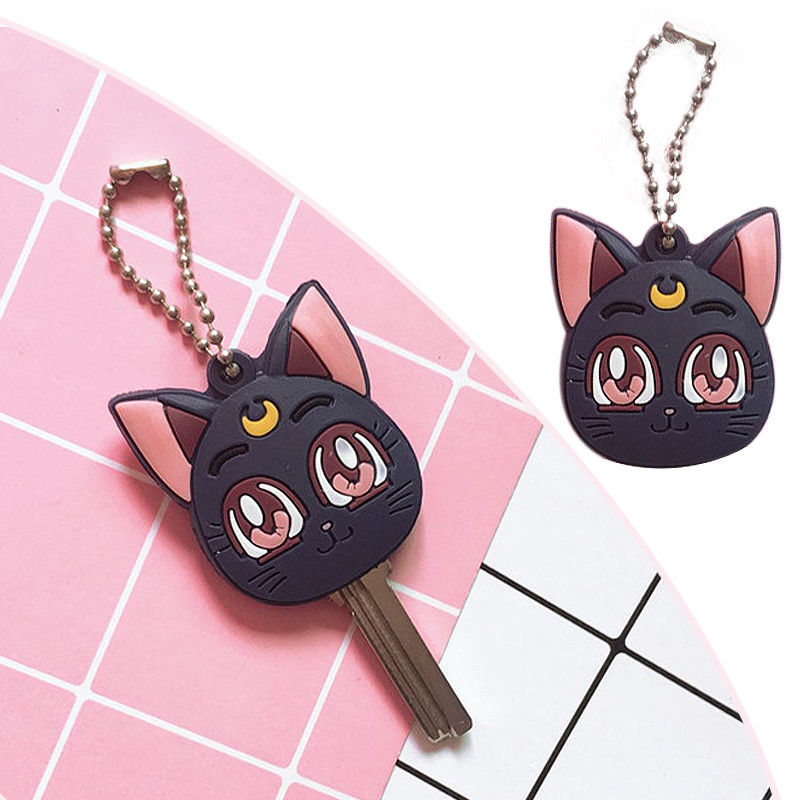 Anime Sailor Moon Luna Purple Cat Keychain Cosplay Cute Pendant Keyring Key chain(China)