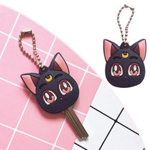 Anime Sailor Moon Luna Purple Cat Keychain Cosplay Cute Pendant Keyring Key chain цена