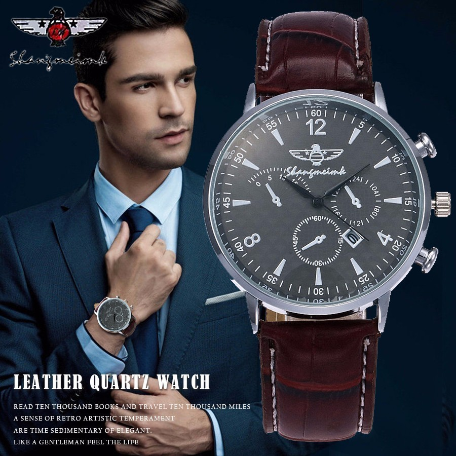 SHANGMEIMK Men Watch Luxury Brand Fashion Calendar Clock Leather Strap Quartz Male Wrist Watches Relogio Masculino Hot Selling bamboo wood watches for men and women fashion casual leather strap wrist watch male relogio