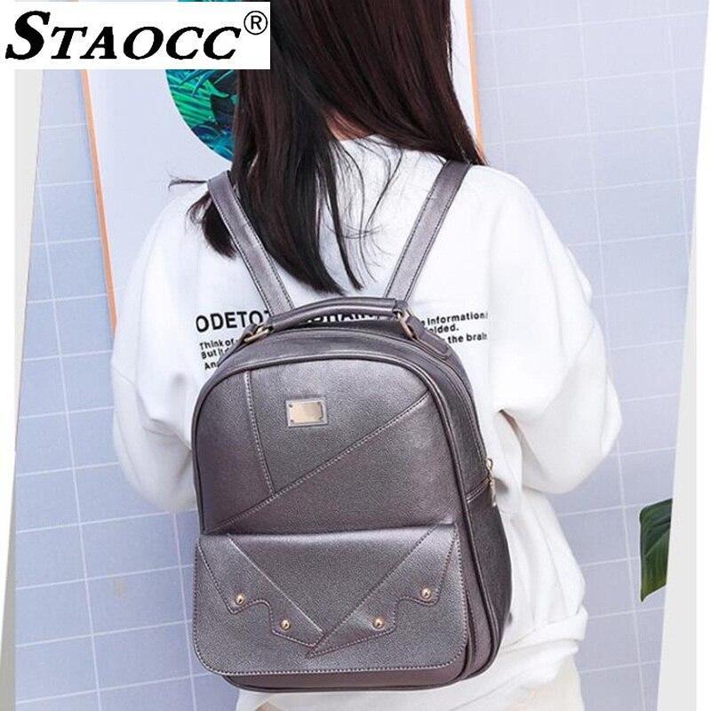 Women Backpack Rivet Waterproof Leather Vintage Travel Shoulder Bag Mochila Feminina School Bag For Girls Ladies Casual Backpack in Backpacks from Luggage Bags