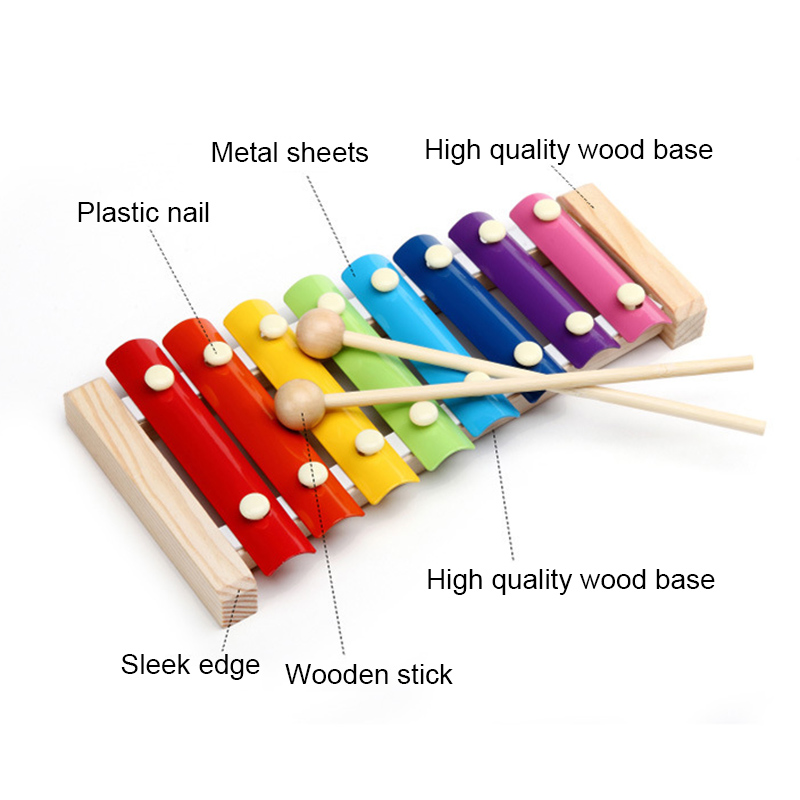 NEW Wooden Xylophone Musical Instrument 8 Tones Toys Multicolor For Children Kids Baby