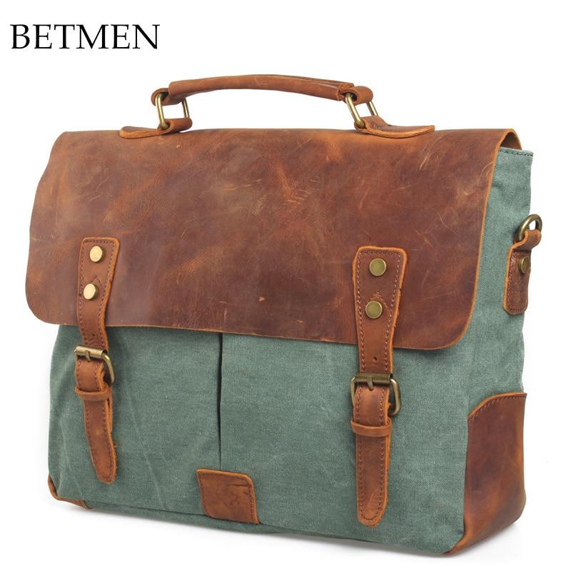 Women/men's Vintage Canvas Leather Shoulder Messenger Bag Laptop Briefcase Larger Capacity Hand Tote Bag Travel Crossbody Bag
