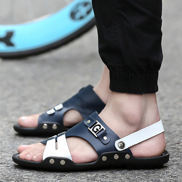 2016 Fashion Brand mens sandals slippers genuine leather cowhide men summer shoes outdoor casual Patchwork leather sandals shoes