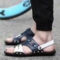 2016 Marca de Moda para hombre sandalias zapatillas de cuero genuino hombres de piel de vaca zapatos de verano al aire libre ocasional Del Remiendo zapatos de las sandalias de cuero