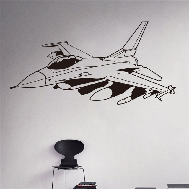 US $5 59 5% OFF|Military Aviation Vinyl Decal Air Force Wall Sticker  Aircraft Army Home Wall Interior Bedroom Decor Wall Graphics-in Wall  Stickers