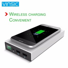 Vinsic 12000MAH Portable Qi Standard Wireless Fast Charger Dual USB External Power Bank Battery Charger for Smartphones