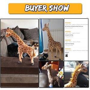 Image 5 - Jirafa de peluche con forma de animales para niños, muñeco de felpa con forma de jirafa, realista, simulación de ciervo, regalo de Navidad