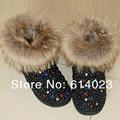 Envío Libre negro de piel de zorro de la perla flores bling del Rhinestone cristalino niños niña de Nieve Botas de los niños calientes Brillantes de Invierno zapatos