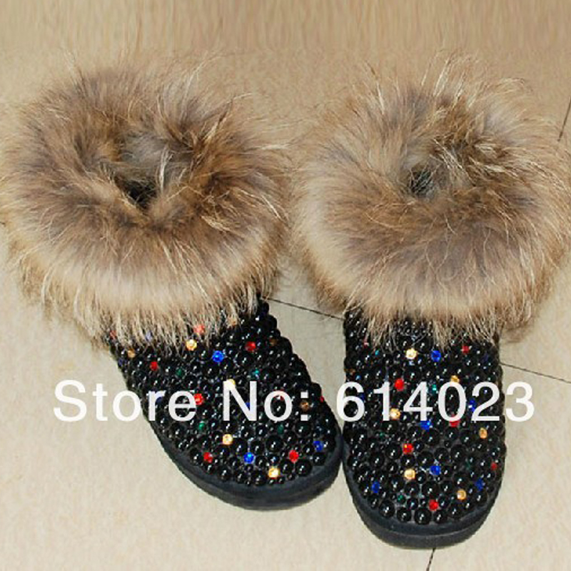 Free Shipping  fox fur black pearl Rhinestone kids crystal baby girl's bling flowers Snow Boots children warm Shiny Winter Shoes