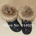 O Envio gratuito de pele de raposa preta pérola Strass crianças cristal flores de bling Botas de Neve do bebê da menina crianças Inverno quente Brilhante sapatos
