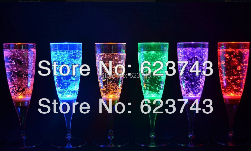Free Shipping 6PCS Liquid active LED Champagne Glass,LED Flash Champagne Cup,LED Flash Cups LED Glasses Drink Cup for party bars