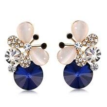 High Quality Crystal Earrings For Women Cute Opal Rhinestone Butterfly Fine Jewelry Fashion OL Temperament Stud Earrings Female