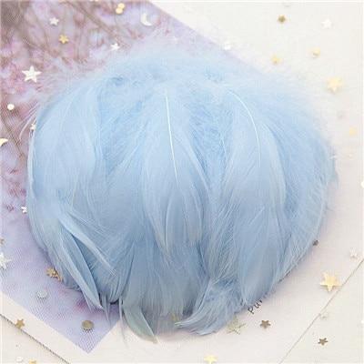 Натуральные гусиные перья 4-8 см, маленькие плавающие цветные перья лебедя, Плюм для рукоделия, свадебные украшения, украшения для дома, 100 шт - Цвет: Lt sky blue 100pcs