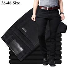 Erkek klasik siyah kot elastik Slim Fit Denim Jean pantolon erkek artı boyutu 40 42 44 46 iş rahat pantolon marka