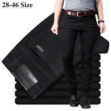 Męskie klasyczne czarne dżinsy elastyczne spodnie jeansowe Slim Fit męskie Plus rozmiar 40 42 44 46 Business Casual spodnie marki tanie tanio IMBARK Zipper fly Średni REGULAR Na co dzień Midweight Pełnej długości Denim Kieszenie Stałe BW201X42117 Mężczyźni