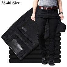 Męskie klasyczne czarne dżinsy elastyczne spodnie jeansowe Slim Fit męskie Plus rozmiar 40 42 44 46 Business Casual spodnie marki
