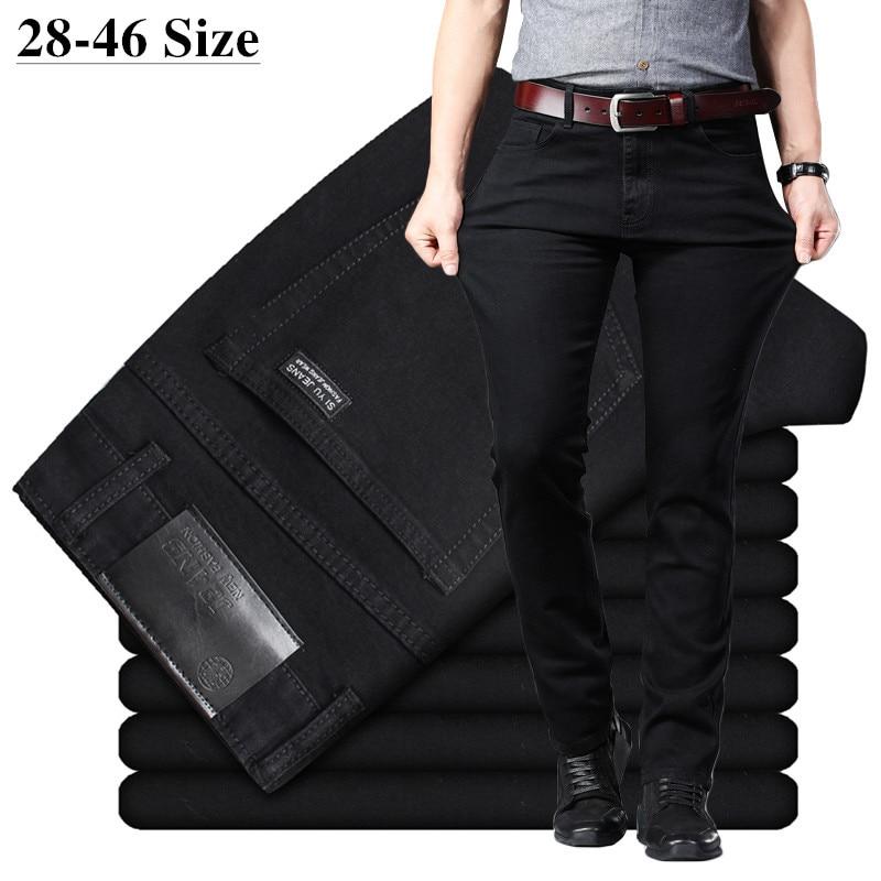 Mens Classic Black Jeans Elastic Slim Fit Denim Jean Trousers  Male Plus Size 40 42 44 46 Business Casual Pants BrandJeans   -