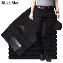 Black Jeans Trousers Casual Pants Slim-Fit Classic Business Elastic Male Men's Plus-Size