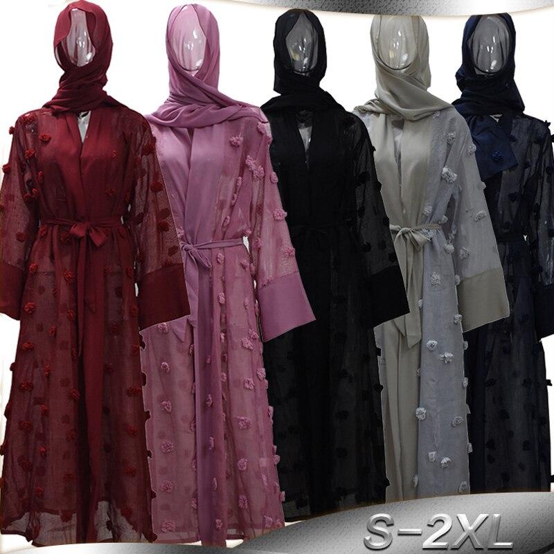 Abaya Dubai Kimonos Mujer 2019 Floral Mesh Kaftan Abayas For Women Cardigan With Hijab Muslim Dress Turkish Islamic Clothing