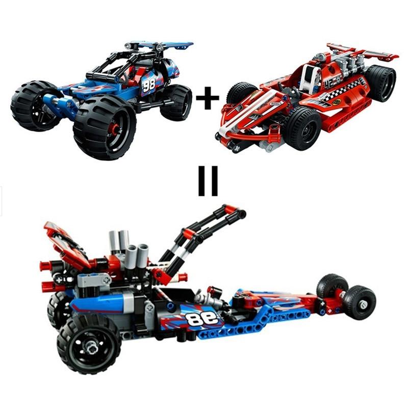2017 High Technic 2 in 1 Warrior off-roader Racer Car Model 3D Building Block Set Warrior Sports Car Boys Toys For Children