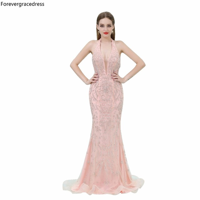 Forevergracedress Luxury Evening Dress Sleeveless Sexy Halter NeckBeaded  Crystals Formal Prom Party Gown Plus Size Custom Made 8c506524fdde