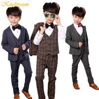 Kindstraum 3pc Children Formal Suits For Boys 2 10Y Cotton Blazer+Vest+Pant Kids Plaid Gentleman Wedding Clothing Sets, MC728