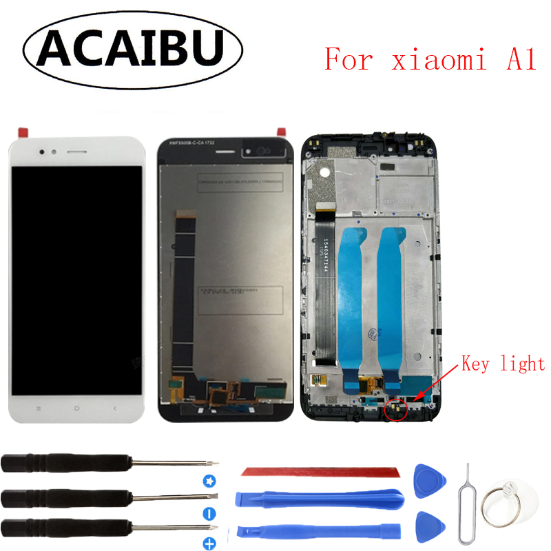 For Xiaomi A1 MiA1 LCD Display Touch Screen with Frame Test Good Digitizer Assembly Replacement 5.5inch Repair Spare Parts