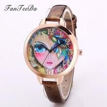Fanteeda Роскошные Брендовые повседневные платья женские часы наручные часы Для женщин Часы Кожа Модная одежда для девочек Винтаж золото часы кварцевые часы