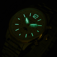 Carnival Watch Men Moon Phase Automatic Mechanical Luminous Stainless Steel Waterproof multifunction White Watches