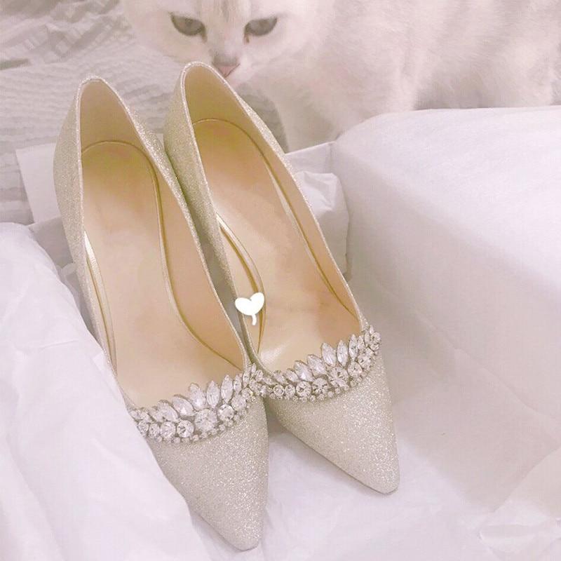 Glitter Kristal Mozaïek Bridal Wedding Schoenen Hoge Hakken Luxe Dames Feestjurk Pompen Mode Sexy Puntige Teen Zijde Witte Hakken - 3
