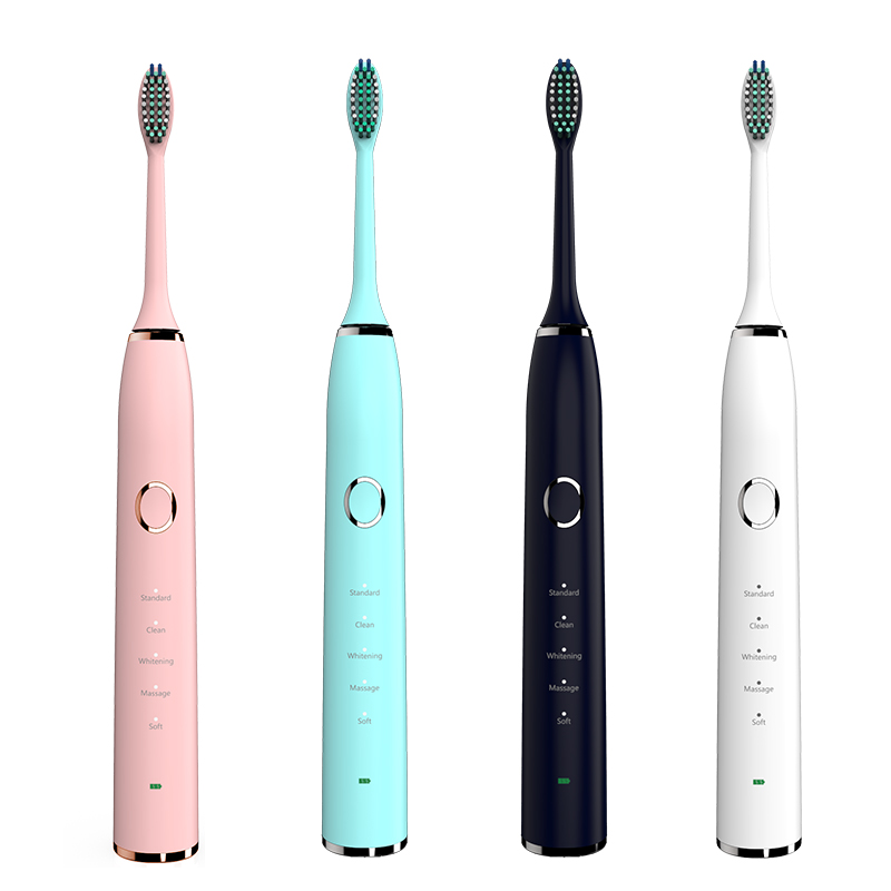 Ultrasonic Sonic Electric Toothbrush USB Rechargeable Tooth Brushes With 2 Pcs DuPont Replacement Time Brush Heads Waterproof