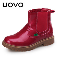 UOVO Kids Martin Boots Spring Autumn Leather Boots For Children Girls Red Booties Slip On Flat