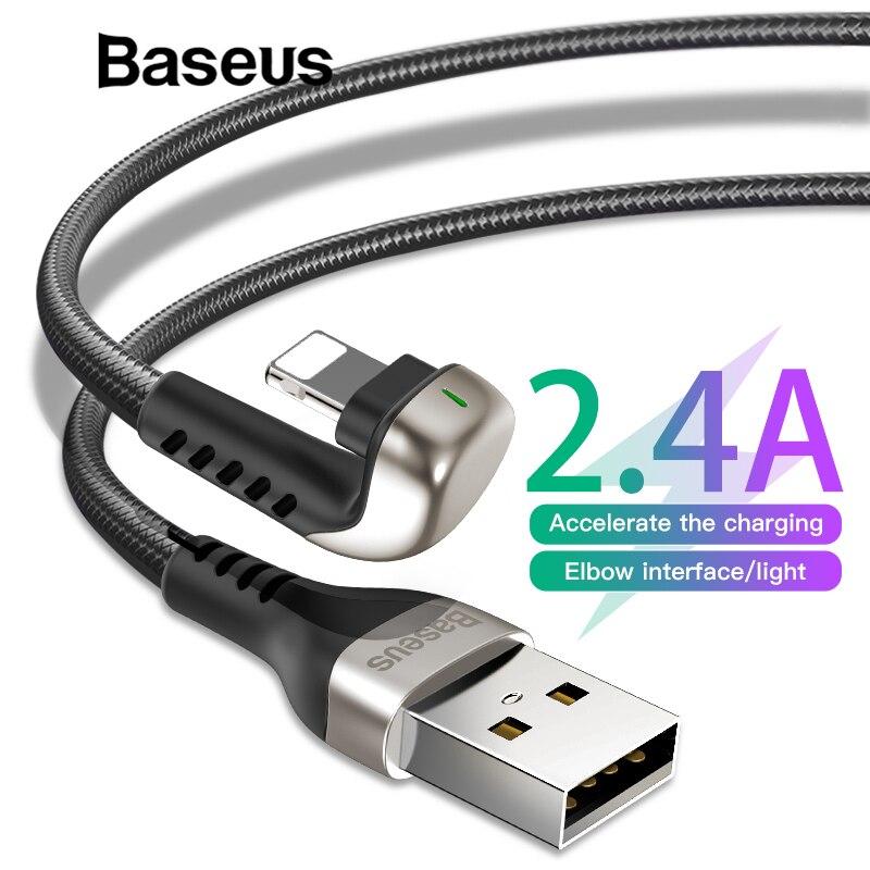 Usb-кабель Baseus для iPhone Xs Max Xr X 2.4A u-образный светодиодный кабель для быстрой зарядки и передачи данных для iPhone 8 7 6 5 iPad