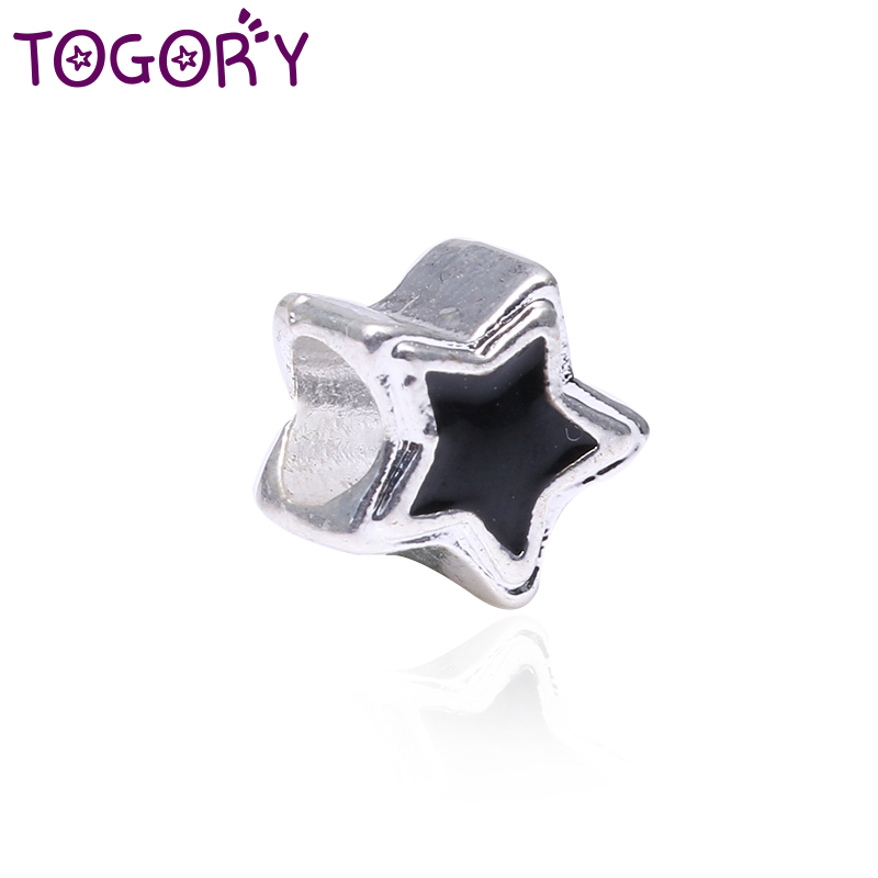 TOGORY 2Pcslot Authentic Silver Plated Charm Black Star With Enamel Crystal Beads Fit Original Pandora Bracelets DIY Jewelry
